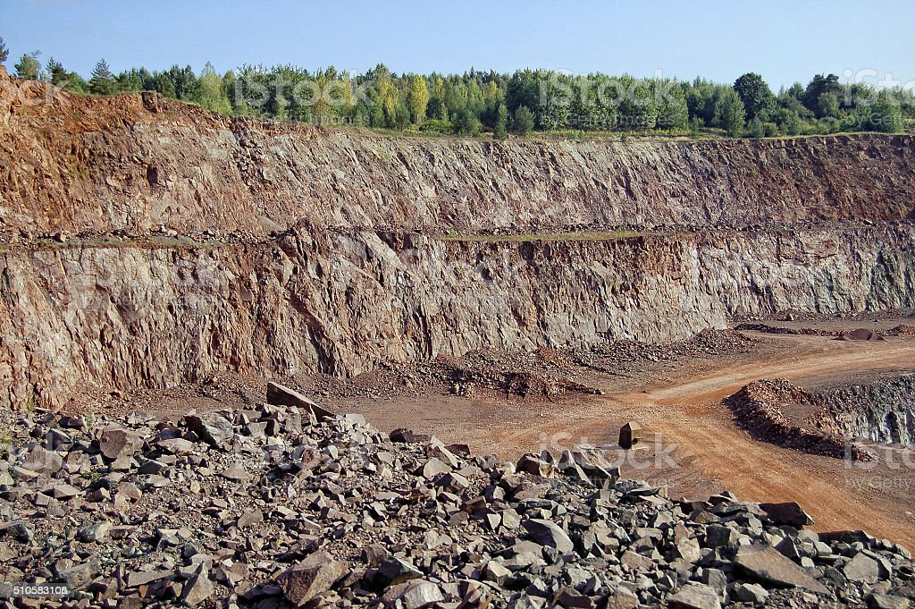 stone crusher in a quarry. mining industry. panorama images stock photo
