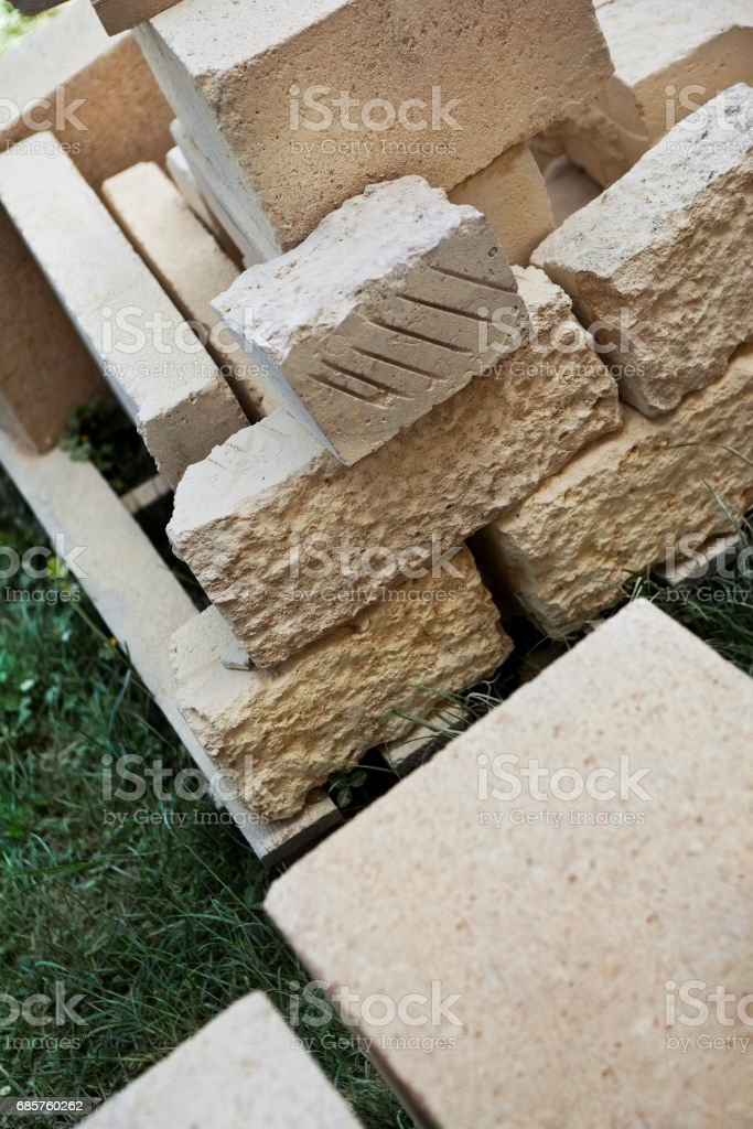 Stone cut on a renovation site stock photo
