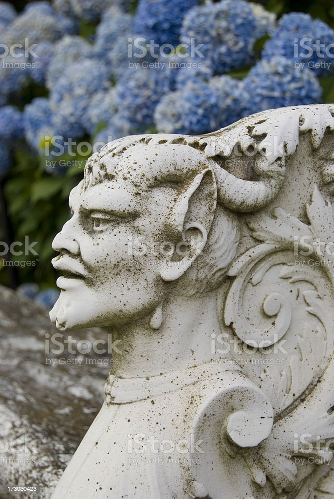 Stone Devil with Hydrangea Newport, RI stock photo