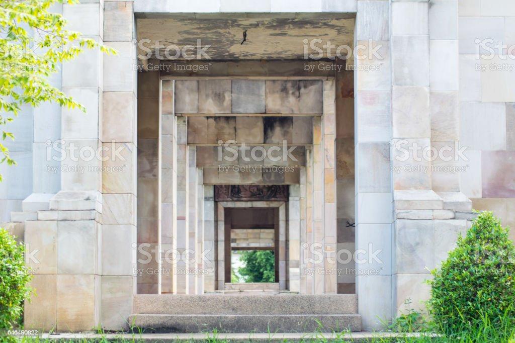 stone doorway in thailand stock photo