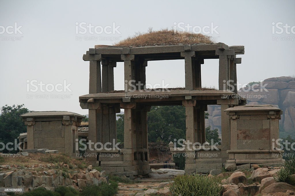 Stone Entrance and Cabins stock photo