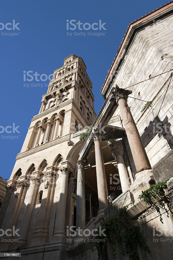 Stone facade of cathedral stock photo