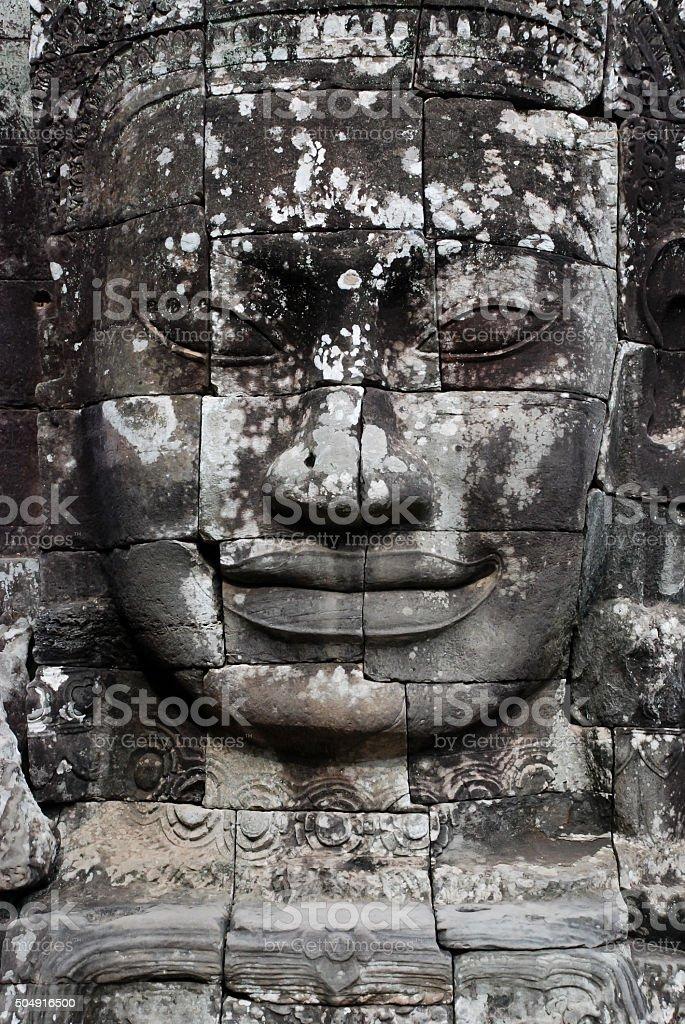 Stone Face in Bayon Temple, Angkor Wat stock photo