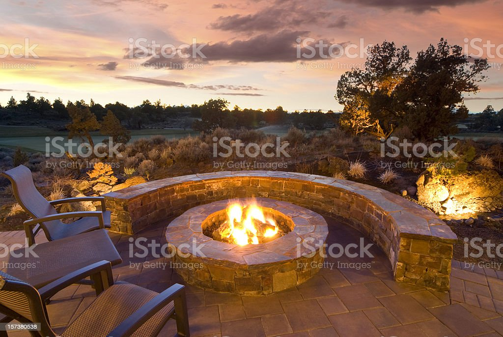 Stone Fire Pit stock photo