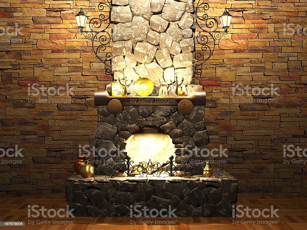 Stone fireplace stock photo