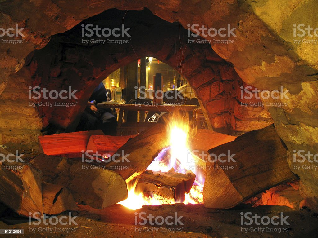 Stone fireplace royalty-free stock photo