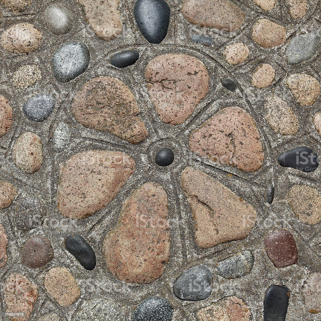 Stone floor with pebbles stock photo