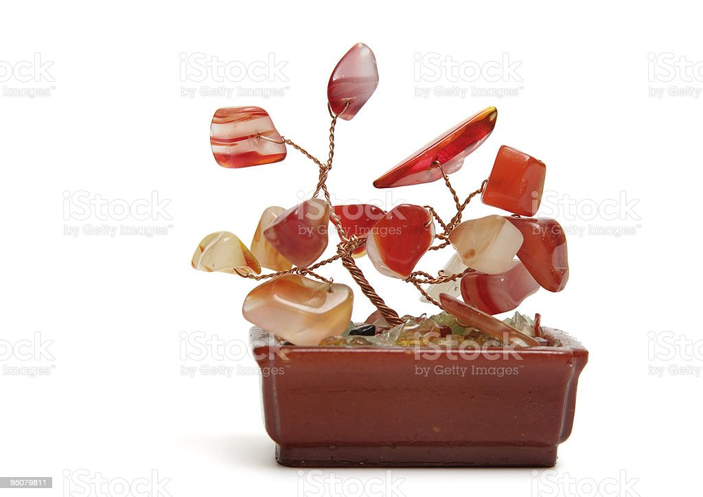 Stone flower in pot stock photo