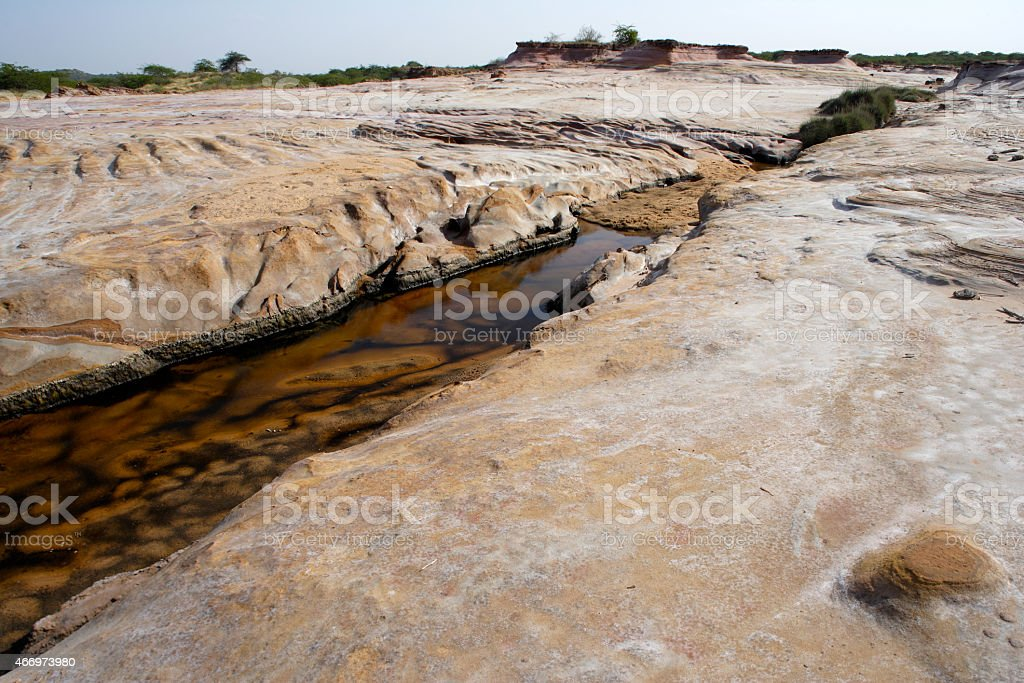 Stone formation in riverbed, Raan of kutch, gujrath, India stock photo