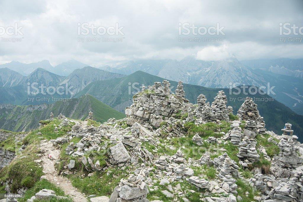 stone formation on top of hill stock photo