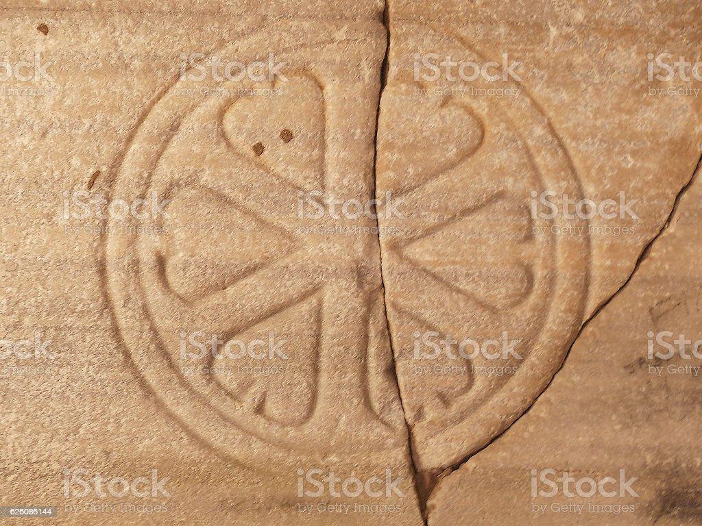 Stone fragments from church Slovenia stock photo