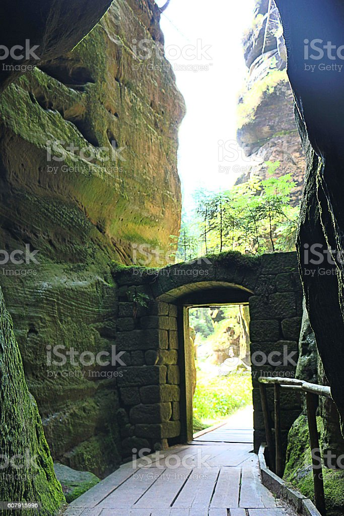 Stone gate in the National Park of Adrspach-Teplice stock photo