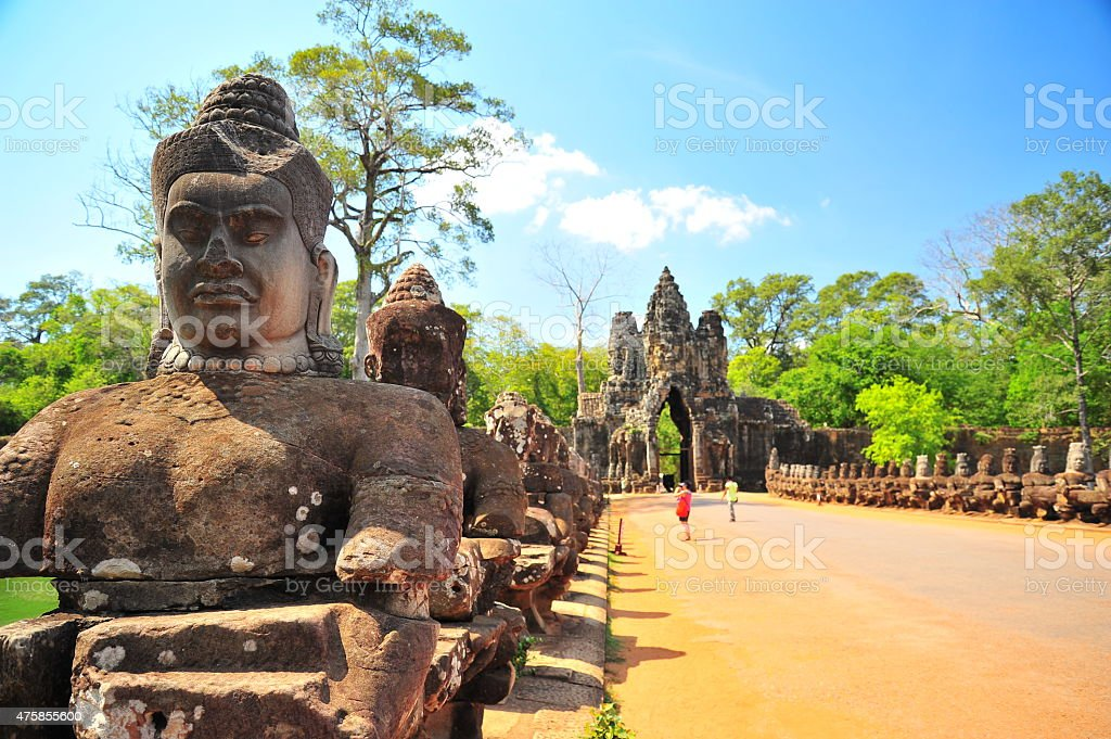 Stone Gate of Angkor Thom in Siem Reap, Cambodia stock photo