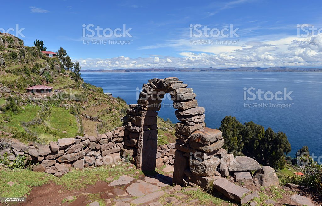 Stone gate, Peru stock photo