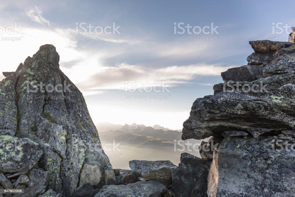 Stone Glacier Aletsch, Switzerland stock photo