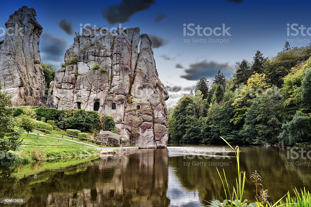 Stone group Externsteine near the city of Detmold, Germany. stock photo