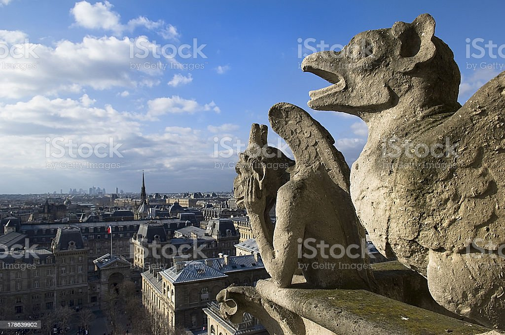 stone guards Paris royalty-free stock photo