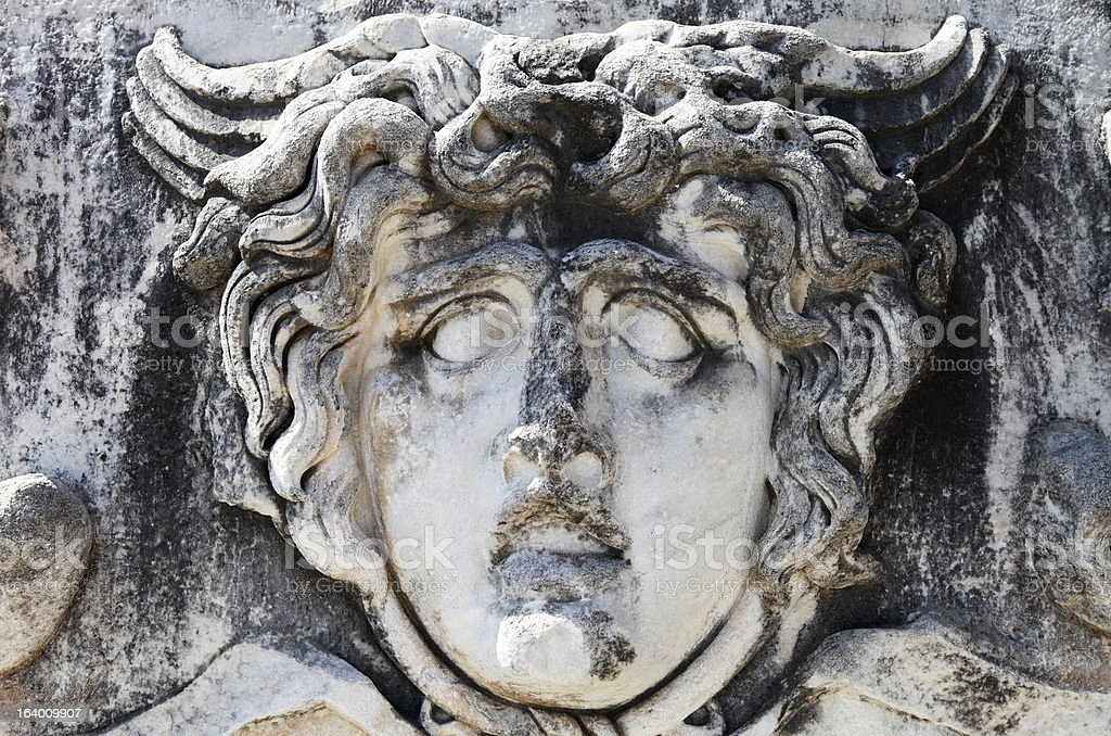 Stone head of Medusa at Didyma royalty-free stock photo