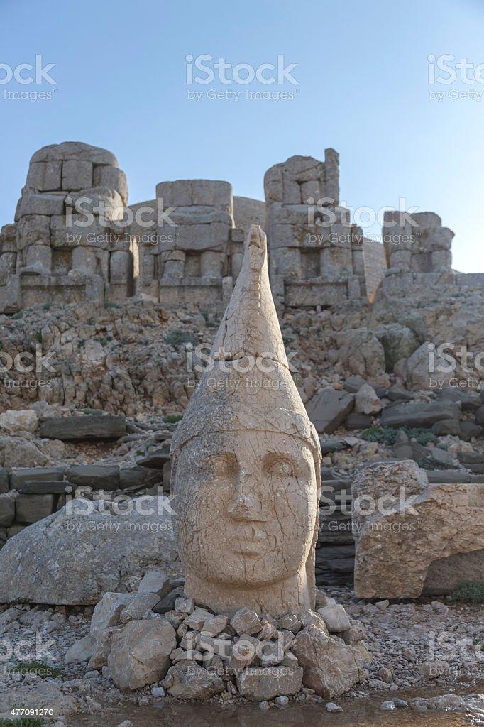 Stone head statues at Nemrut Mountain in Turkey stock photo