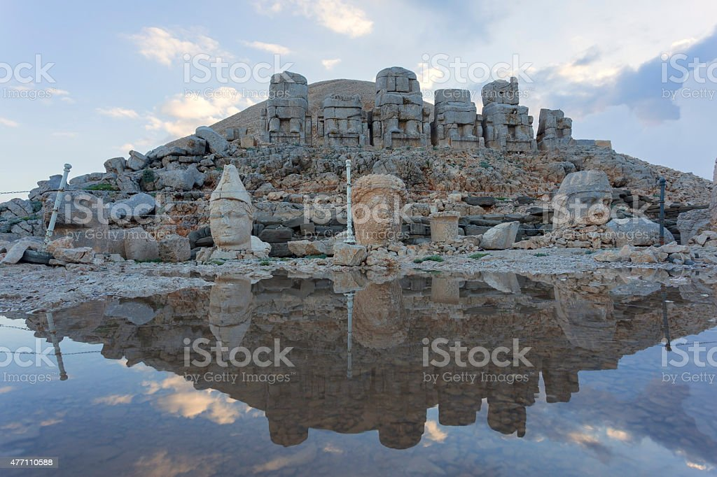 Stone head statues at Nemrut Mountain in Turkey stock photo