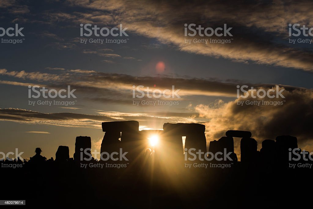 Stone Henge Sunset Solstice stock photo