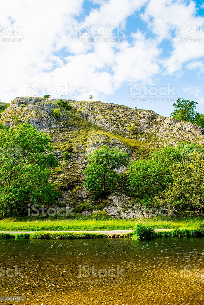 Stone Hills near River Dove in Peak District National Park stock photo