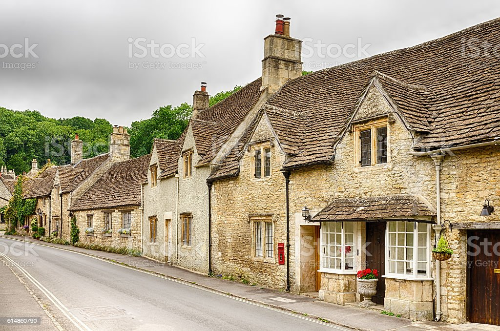 Stone homes on streets of Castle Combe Village in Wiltshire stock photo