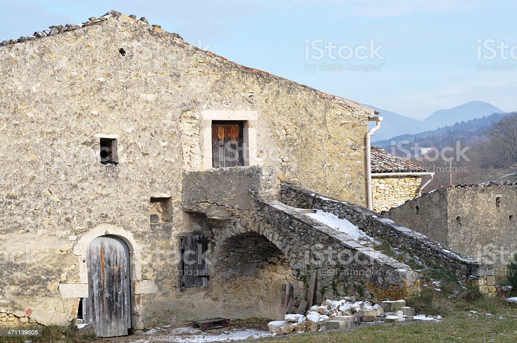 stone house in winter, Provence, France stock photo