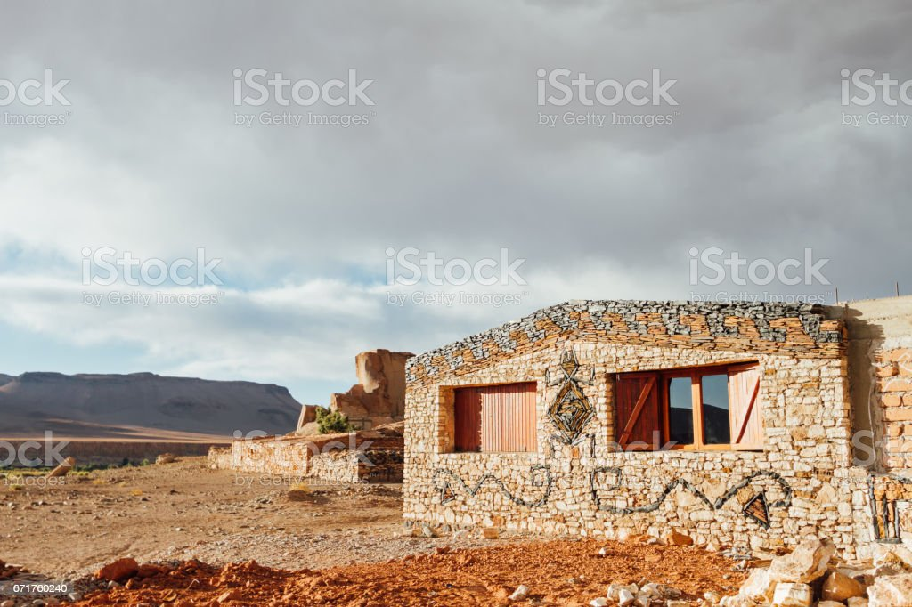 Stone house with drawing of an animal in Catamarca, Argentina stock photo