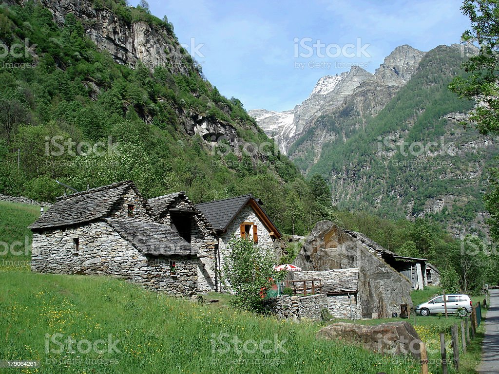 Stone houses in Swiss Alps royalty-free stock photo
