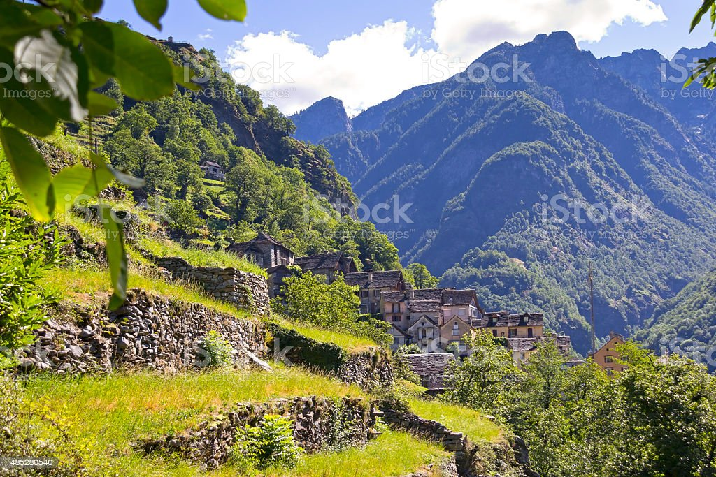 Stone houses, Rustico, Ticino stock photo