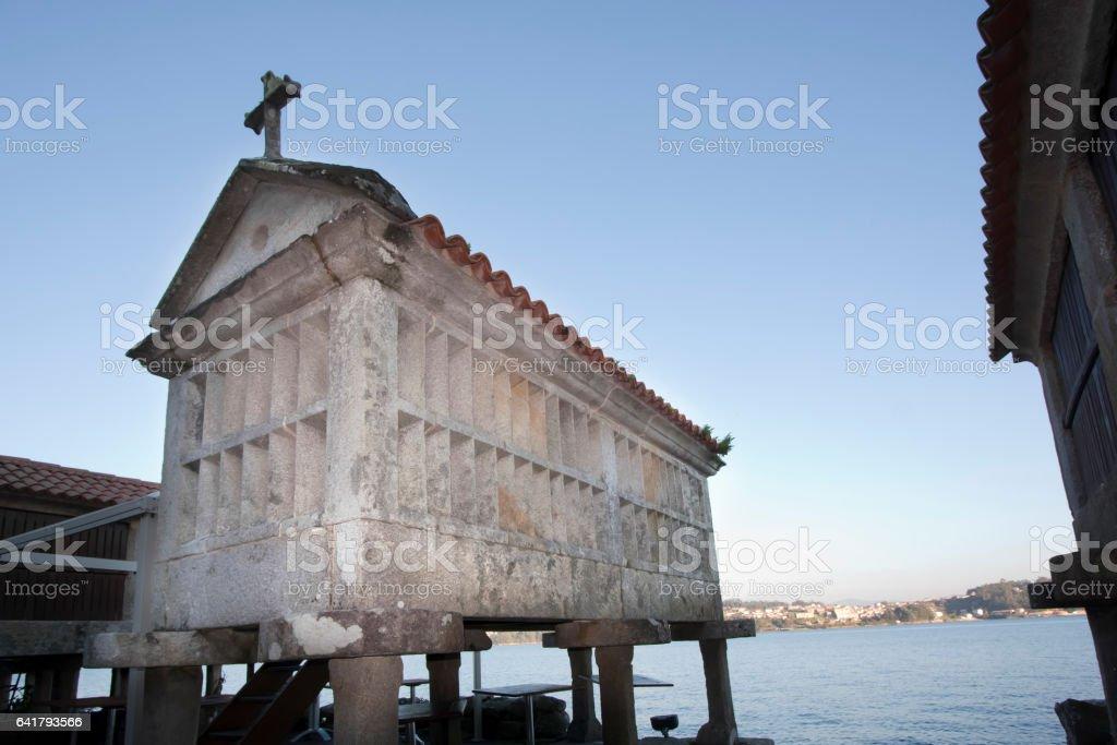 Stone 'Hórreo' in Combarro, Pontevedra province, Galicia, Spain stock photo
