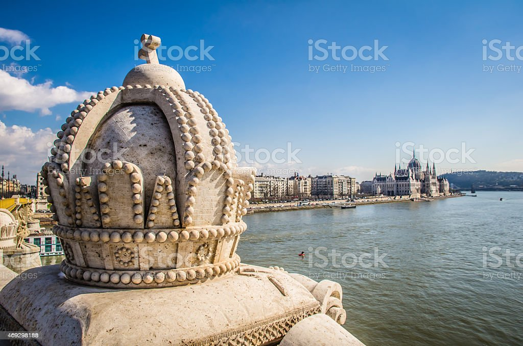 Stone Hungarian Crown stock photo