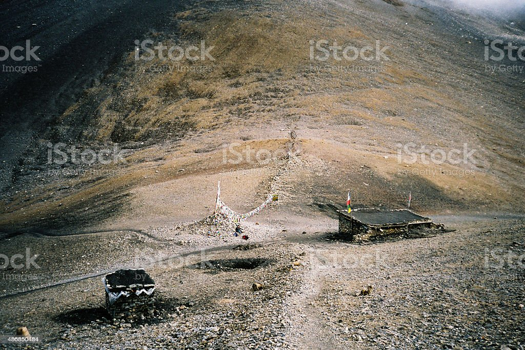 Stone huts for trekkers in Himalaya mountains stock photo