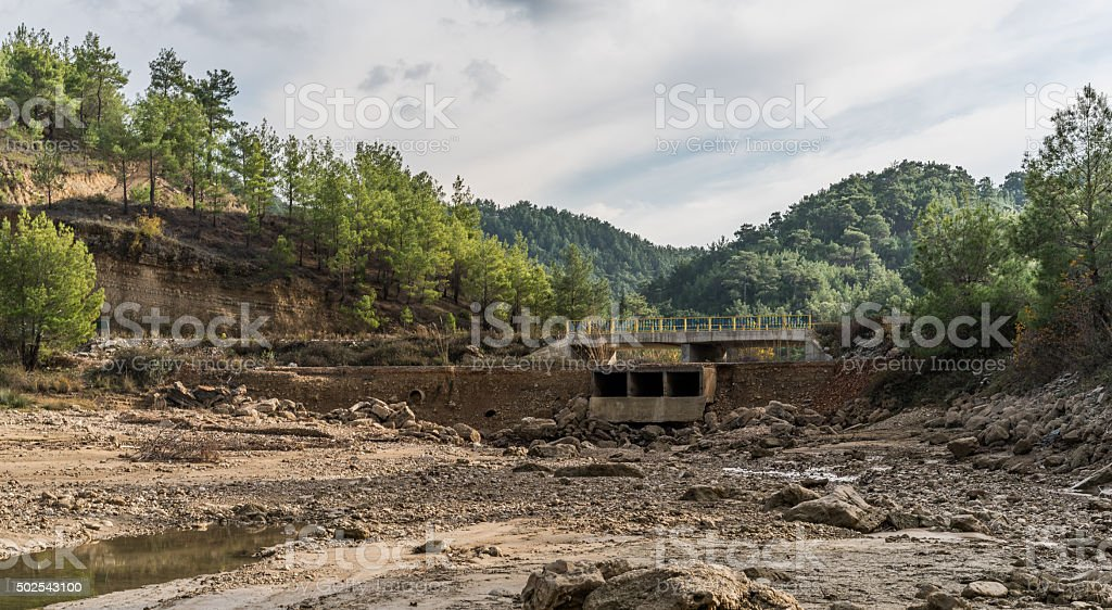 stone in arid canal for the irrigation stock photo