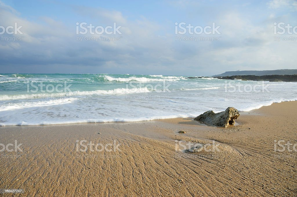 Stone in Wave on Ocean Coast royalty-free stock photo