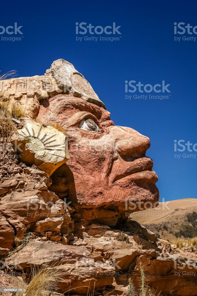 Stone Inca face stock photo