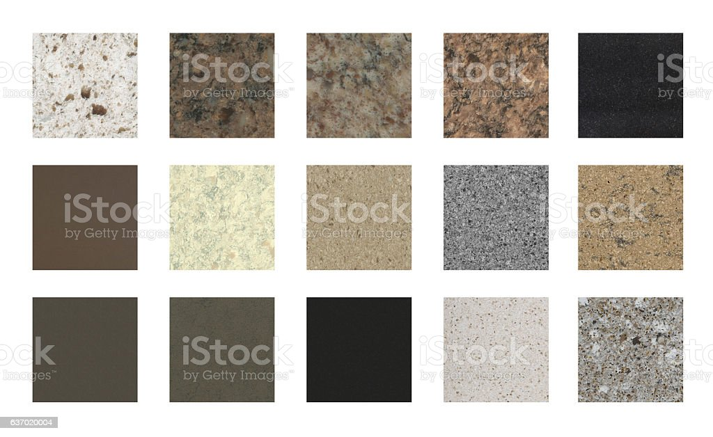 Stone kitchen counter tops and floor tile color samples stock photo