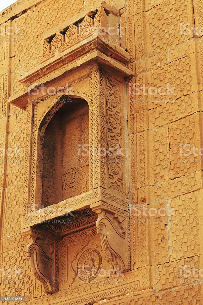 Stone Lamp Place in 16th Century Tomb at Makli Necropolis stock photo