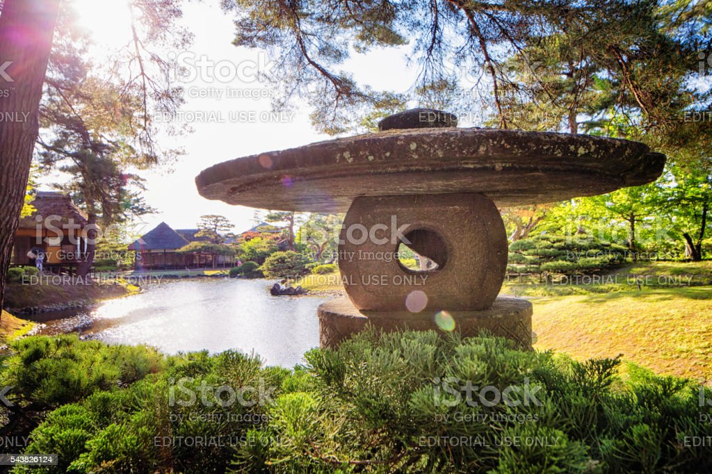 Stone lantern at Aizuwakamatsu Oyakuen Garden stock photo