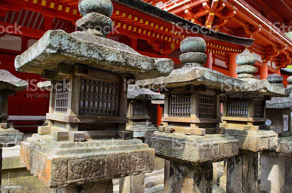 Stone lanterns in Nara, Japan stock photo