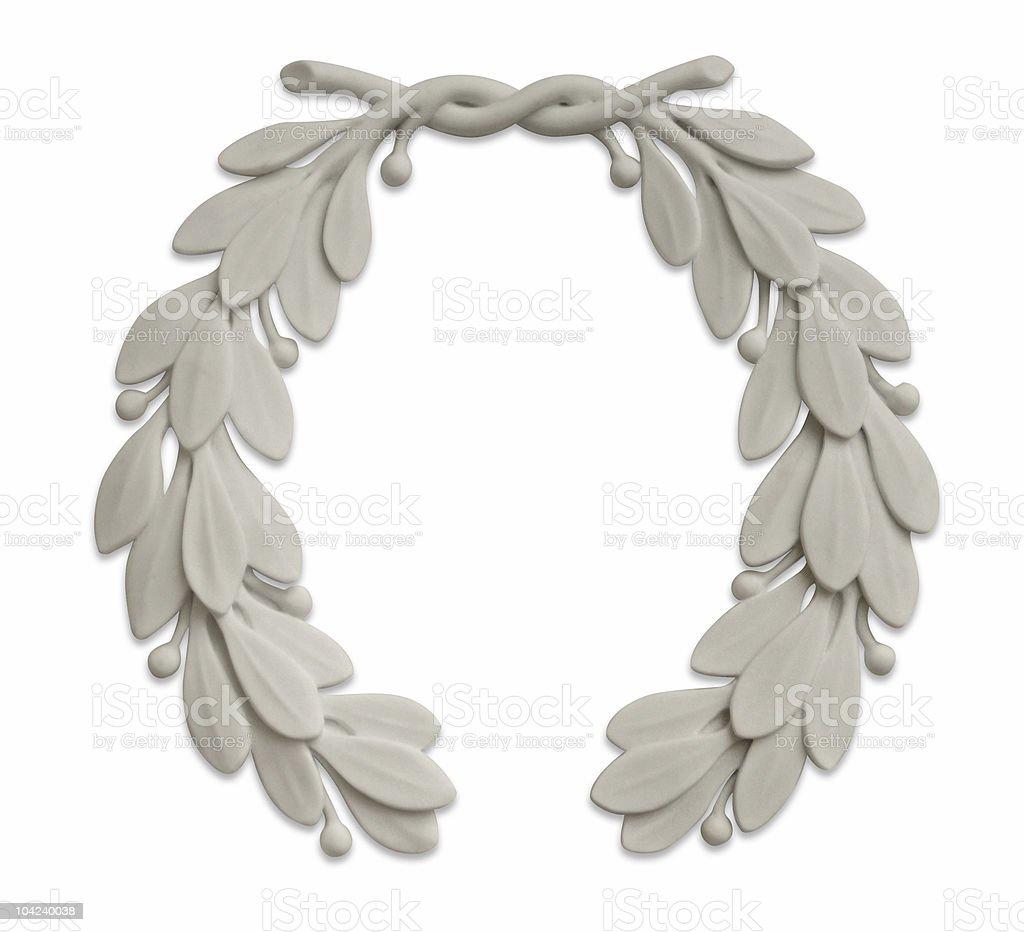 stone laurel wreath stock photo