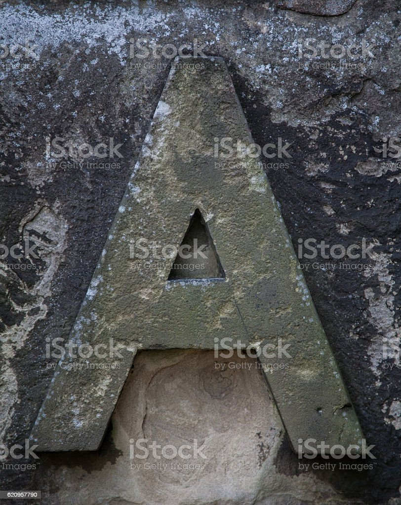 Stone Letter A stock photo