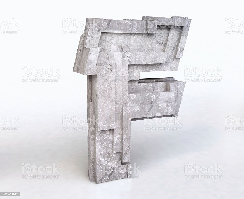 Stone Letter F stock photo