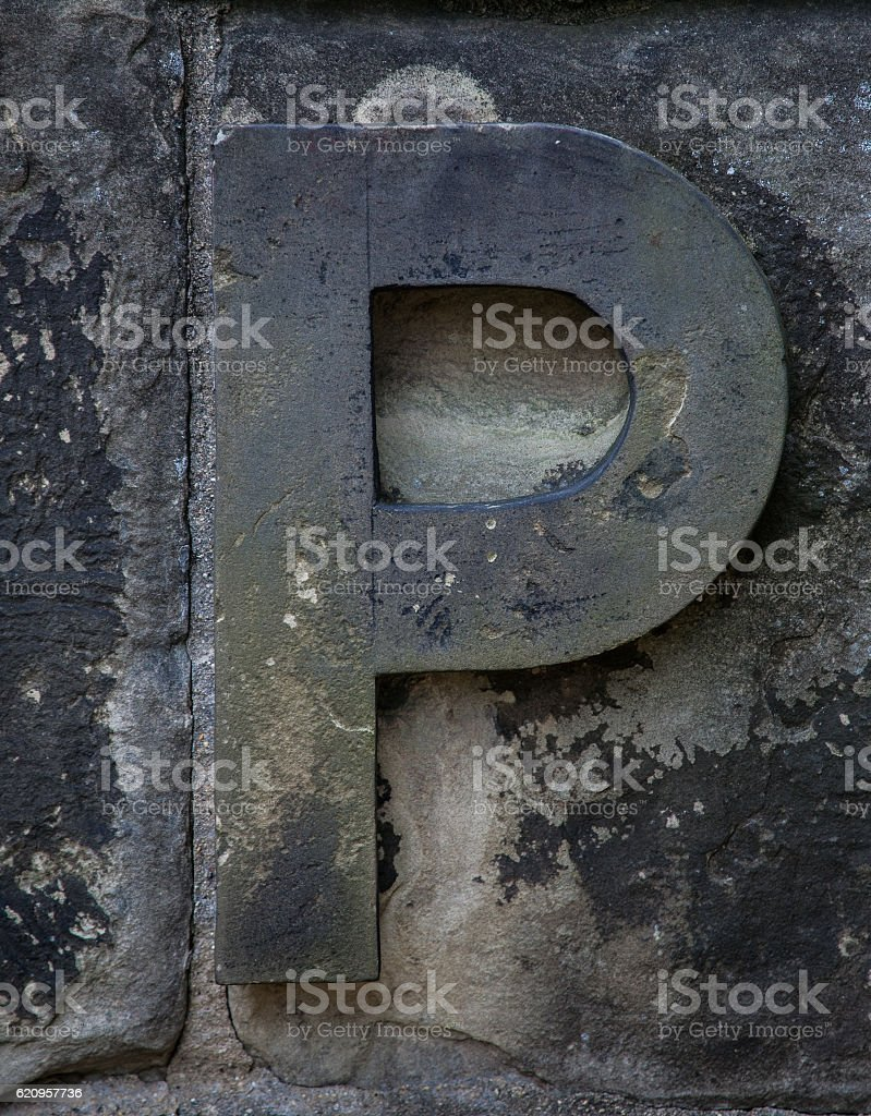Stone Letter P stock photo