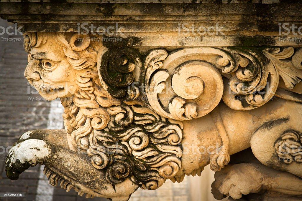 Stone Lion Close-Up, Baroque Balcony in Noto, Sicily stock photo