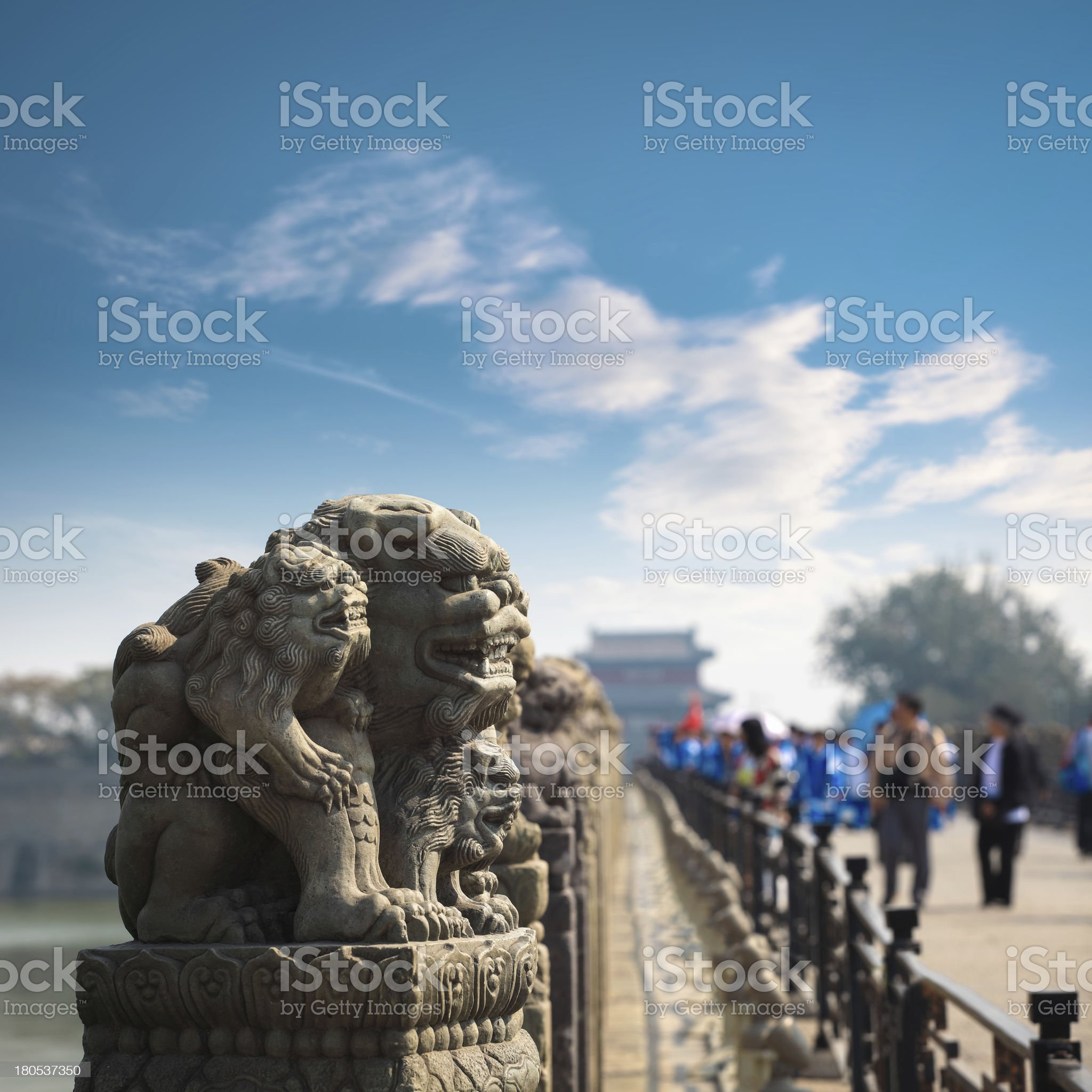 stone lion closeup in beijing royalty-free stock photo