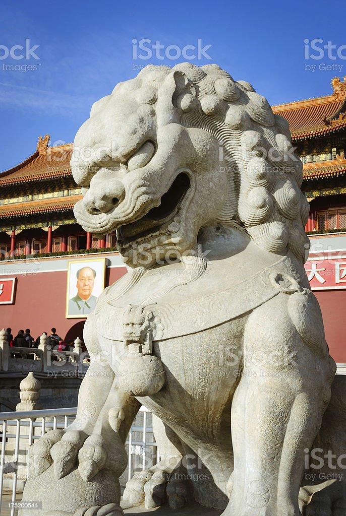 Stone lion Sculpture of Tiananmen Gate stock photo