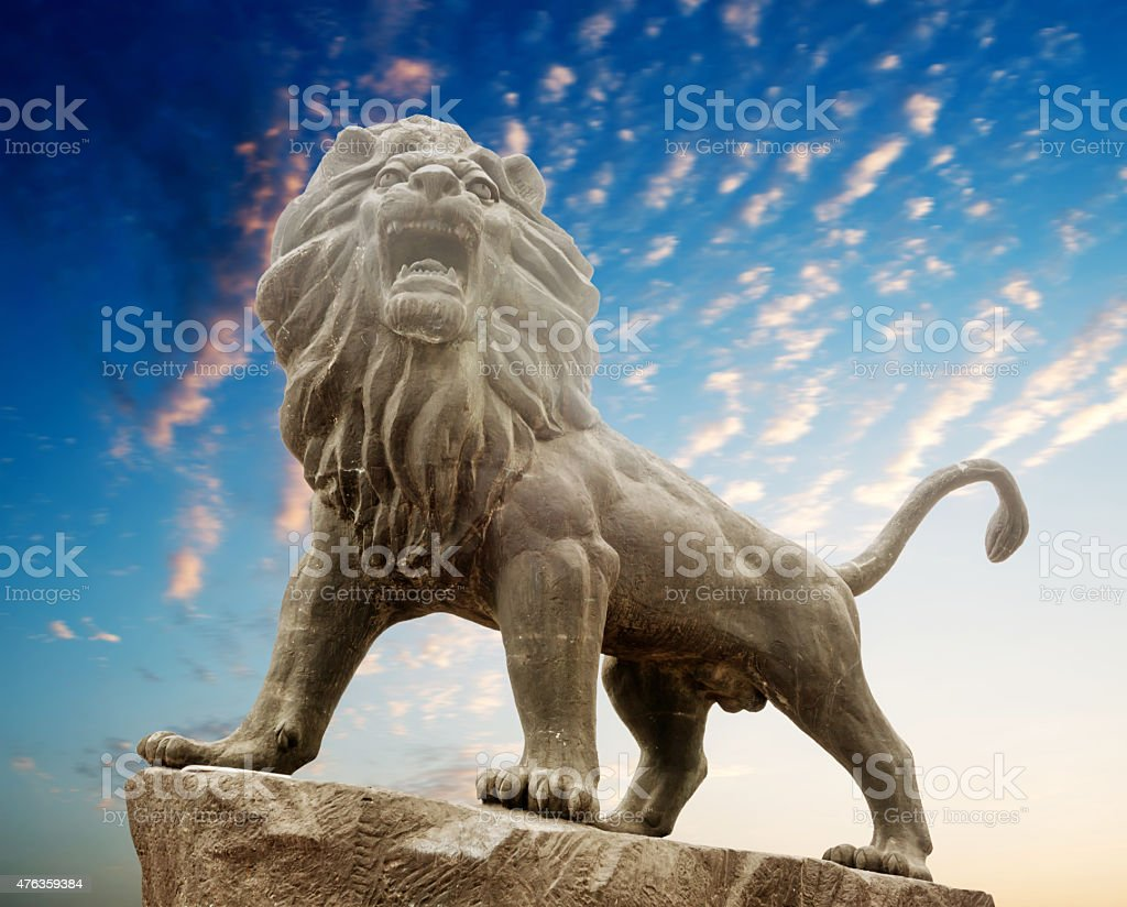 Stone Lion sculpture stock photo