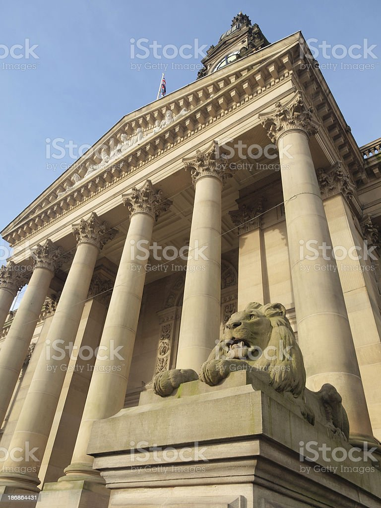 Stone lion statue and portico at neoclassical Bolton town hall stock photo